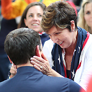Basketball - Olympics: Day 16  Coach K, Mike Krzyzewski  is congratulated by his wife Carol 'Mickie' Krzyzewski after the United States gold medal win during the USA Vs Serbia Men's Basketball Gold Medal game at Carioca Arena1on August 21, 2016 in Rio de Janeiro, Brazil. (Photo by Tim Clayton/Corbis via Getty Images)