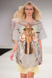© Licensed to London News Pictures. 01/06/2015. London, UK. Collection by James McCahon. Fashion show of Nottingham Trent University at Graduate Fashion Week 2015. Graduate Fashion Week takes place from 30 May to 2 June 2015 at the Old Truman Brewery, Brick Lane. Photo credit : Bettina Strenske/LNP