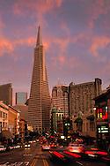 Clouds at sunset above the TransAmerica Pyramid and North Beach near Columbus & Broadway, San Francisco, California