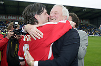 Photo: Rich Eaton.<br /> <br /> Oxford United v Leyton Orient. Coca Cola League 2. 06/05/2006.<br /> <br /> John Mackie, captain, and Barry Hearn, chairman of Leyton Orient celebrate their promotion