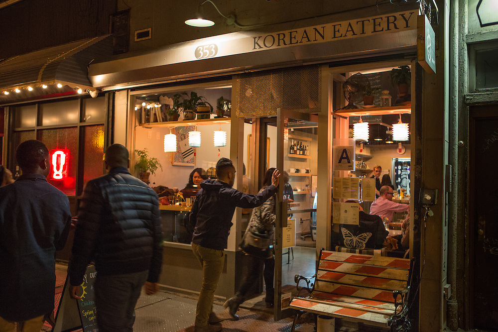 Brooklyn, NY - 26 April 2014. Diners going into Dotory.