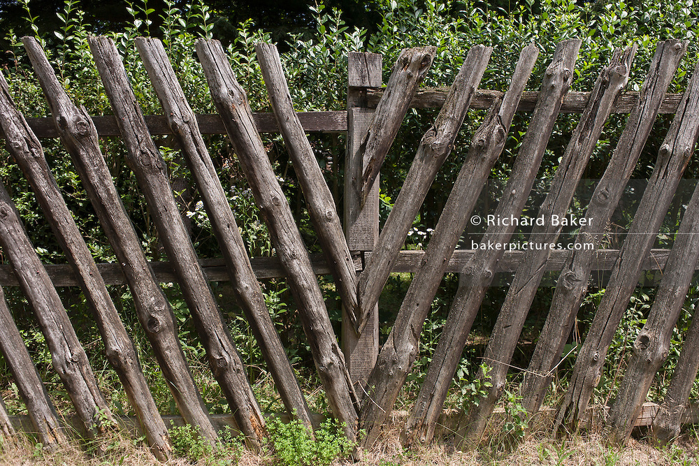 Wooden fencing in the village of Bakonygyirot, Gyor-Moson-Sopron, Hungary