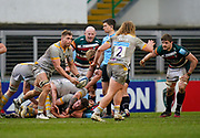 Wasps Lock Will Rowlands looks to pass during a Gallagher Premiership Round 10 Rugby Union match, Friday, Feb. 20, 2021, in Leicester, United Kingdom. (Steve Flynn/Image of Sport)