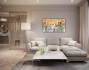 Wild Rose Large Abstract Modern Art Paintings by Louie Rochon. SOLD