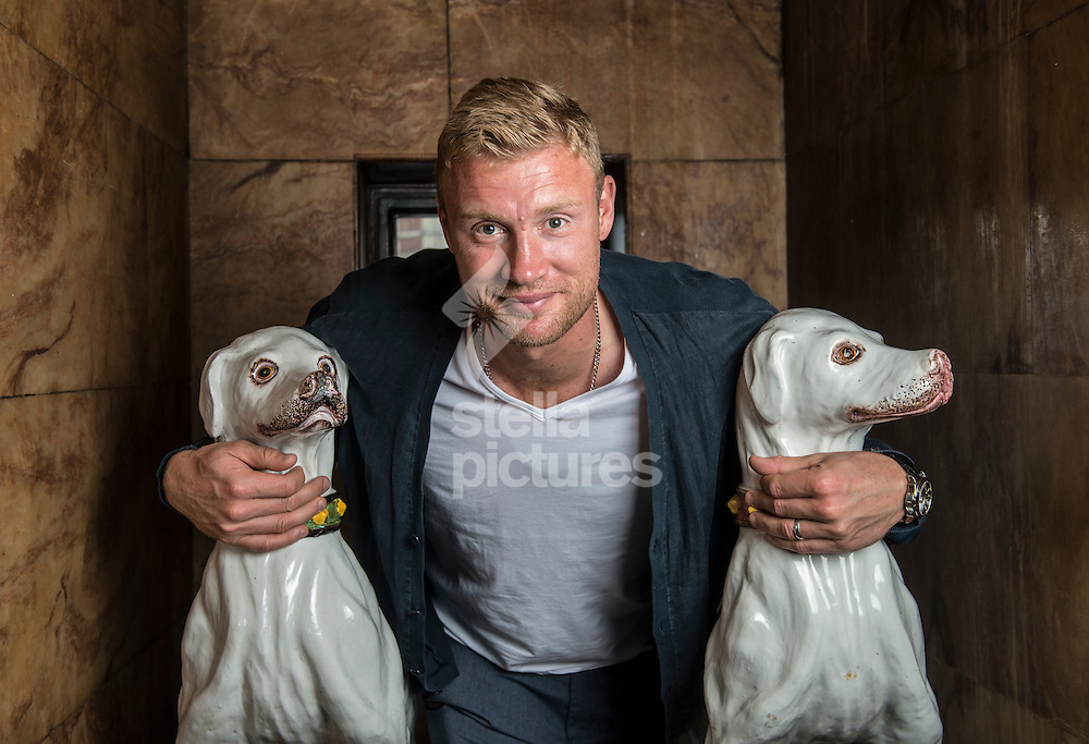 Former cricketer,Andrew Flintoff at Palace Theatre, London.<br /> Flintoff is now on a 26 date tour of a man show.<br /> Picture by Daniel Hambury/Stella Pictures Ltd +44 7813 022858<br /> 20/07/2015
