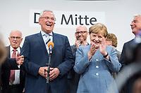 24 SEP 2017, BERLIN/GERMANY:<br /> Joachim Herrmann (Mi-L), CSU, Innenminister Bayern, und Angela Merkel (Mi-R), CDU, Bundeskanzlerin, Wahlparty in der Wahlnacht, Bundestagswahl 2017, Konrad-Adenauer-Haus, CDU Bundesgeschaeftsstelle<br /> IMAGE: 20170924-01-080<br /> KEYWORDS: Election Party, Election Night, lachen, Applaus, applaudieren, Klatschen