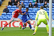 Cardiff's Kadeem Harris (c) takes on Nottingham's Joseph Worrall (l).  EFL Skybet championship match, Cardiff city v Nottingham Forest at the Cardiff City Stadium in Cardiff, South Wales on Easter Monday 17th April 2017.<br /> pic by Carl Robertson, Andrew Orchard sports photography.