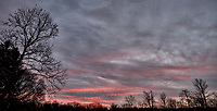 Colorful Autumn Sky at Dawn. Backyard Nature in New Jersey. Composite of two images taken with a Fuji X-T1 camera and 16 mm f/1.4 lens (ISO 200, 16 mm, f/2.8, 1/60 sec)