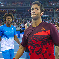 Fernando Verdasco (R) from Spain plays an exhibition match against Gael Monfils (L) from France during the Tennis Classics tournament in Budapest, Hungary on October 29, 2011. ATTILA VOLGYI