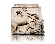 Sculpture of Lapiths and  Centaurs battling from the Metope of the Parthenon on the Acropolis of Athens no XXX. Also known as the Elgin marbles. British Museum London. The Centaur is about to trample the Lapith who is picking up a stone as his final defence. .<br /> <br /> If you prefer to buy from our ALAMY STOCK LIBRARY page at https://www.alamy.com/portfolio/paul-williams-funkystock/greco-roman-sculptures.html . Type -    Elgin    - into LOWER SEARCH WITHIN GALLERY box - Refine search by adding a subject, place, background colour, etc.<br /> <br /> Visit our ROMAN WORLD PHOTO COLLECTIONS for more photos to download or buy as wall art prints https://funkystock.photoshelter.com/gallery-collection/The-Romans-Art-Artefacts-Antiquities-Historic-Sites-Pictures-Images/C0000r2uLJJo9_s0
