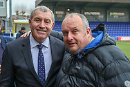 AFC Wimbledon fan with Peter Shilton during the The FA Cup 5th round match between AFC Wimbledon and Millwall at the Cherry Red Records Stadium, Kingston, England on 16 February 2019.