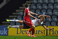 Preston North End's Jayden Stockley is floored by Middlesbrough's Paddy McNair<br /> <br /> Photographer Dave Howarth/CameraSport<br /> <br /> The EFL Sky Bet Championship - Preston North End v Middlesbrough - Wednesday 9th December 2020 - Deepdale - Preston<br /> <br /> World Copyright © 2020 CameraSport. All rights reserved. 43 Linden Ave. Countesthorpe. Leicester. England. LE8 5PG - Tel: +44 (0) 116 277 4147 - admin@camerasport.com - www.camerasport.com