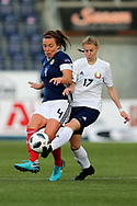 Karina Olkhovik (#17) of Belarus challenges Rachel Corsie (#4) of Scotland for the ball during the FIFA Women's World Cup UEFA Qualifier match between Scotland Women and Belarus Women at Falkirk Stadium, Falkirk, Scotland on 7 June 2018. Picture by Craig Doyle.