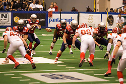 14 March 2009: Mitch Tanney waits for the long snap from center Luke Wickman.The Sioux Falls Storm were hosted by the Bloomington Extreme in the US Cellular Coliseum in downtown Bloomington Illinois.