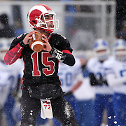 Quarterback Nick Cascione, New Canaan, in action during the New Canaan Rams Vs Darien Blue Wave, CIAC Football Championship Class L Final at Boyle Stadium, Stamford. The New Canaan Rams won the match in snowy conditions 44-12. Stamford,  Connecticut, USA. 14th December 2013. Photo Tim Clayton