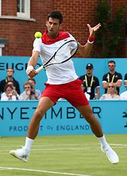 June 19, 2018 - United Kingdom - Novak Djokovic (SRB) in action .during Fever-Tree Championships 1st Round match between John Millman (AUS) against Novak Djokovic (SRB) at The Queen's Club, London, on 19 June 2018  (Credit Image: © Kieran Galvin/NurPhoto via ZUMA Press)