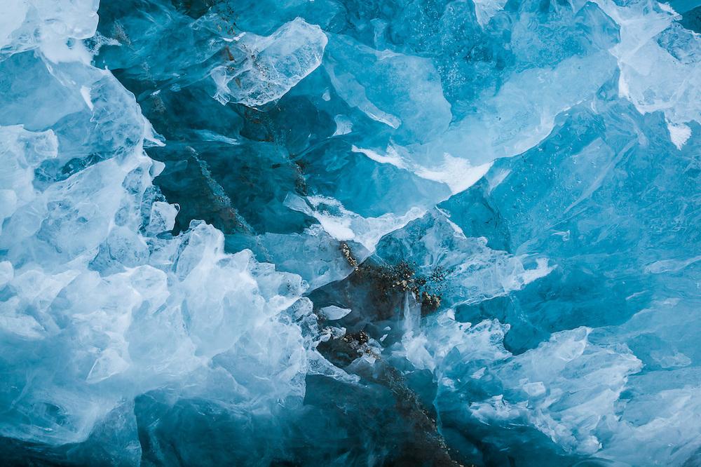 Fractured, brittle glacier ice on Rabotbreen, Svalbard.