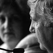 Fred Fielding (foreground) and Jamie Gorelick (background) during the 9/11 Commission's 11th Public Hearing, New School University, New York.