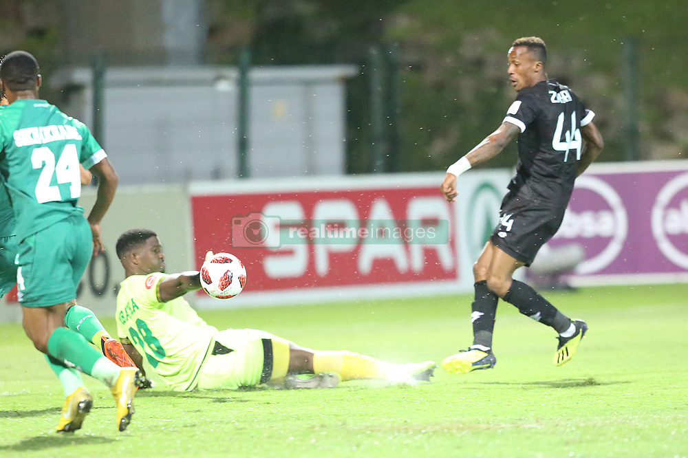 02102018 (Durban) Amazulu goalkeeper Siyabonga Mbatha defend a ball during the game when AmaZulu FC takes head on their KwaZulu-Natal rivals Maritzburg United in an Absa Premiership match at the King Zwelithini Stadium in Durban on Tuesday night. Usuthu extended their winless run to three league games when they lost 2-0 to Kaizer Chiefs away in their previous match over a week ago and after losing 6 points.<br /> Picture: Motshwari Mofokeng/African News Agency (ANA)