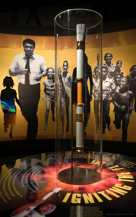 The Olympic torch Ali carried during the 1996 Opening Ceremonies of the Summer Games in Atlanta, Ga., on display Thursday, Jan. 11, 2012 at the Muhammad Ali Center in Louisville, Ky. (AP Photo/Brian Bohannon)