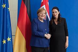 Germany, Berlin - April 17, 2018.The German Chancellor Angela Merkel meets New Zealand's Prime Minister Jacinda Ardern (Credit Image: © Koch/Davids/Ropi via ZUMA Press)