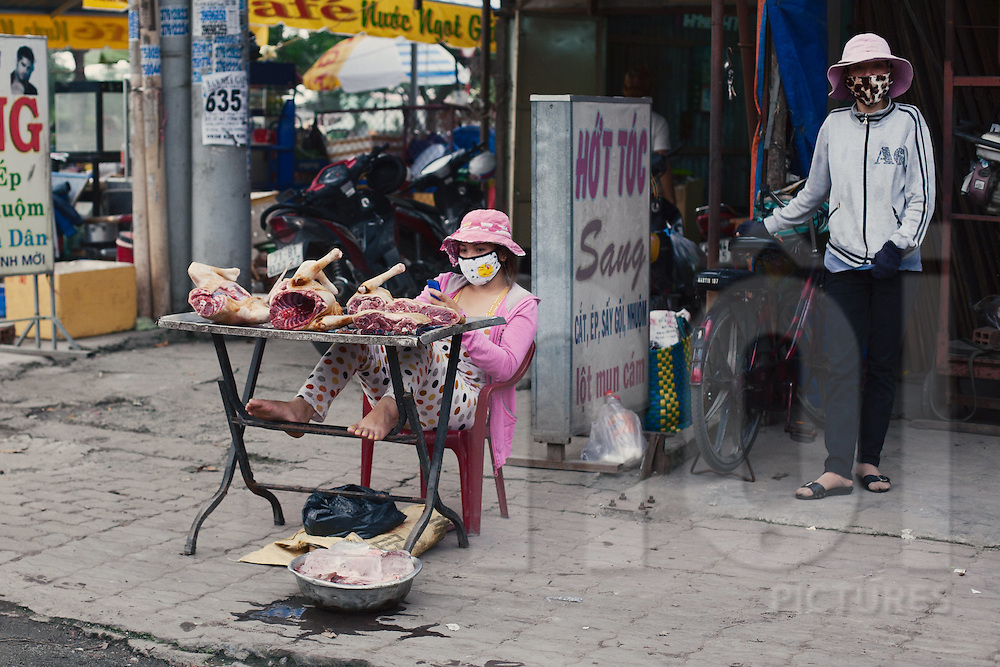 A woman selling Thit Cho, or dog meat, in District 5, Ho Chi Minh City, Vietnam, South East Asia