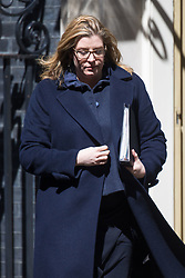 Secretary of State for International Development Penny Mordaunt leaves the weekly UK cabinet meeting at 10 Downing Street in London, May 01 2018.