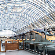 A high-speed Eurostar train under the distinctive iron and glass arched cover over the platforms of St Pancras Railway Station (now known as St Pancras International). The renovated station features distinctive Victorian architecture and serves as a Eurostar terminal for high-speed trains to Europe. There are also platforms for domestic train services. The distinctive train shed roof was designed by William Henry Barlow.