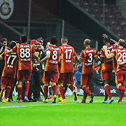 Galatasaray's Burak Yilmaz celebrate his goal with team mate during their Turkish Super League soccer match Galatasaray between Sivasspor at the TT Arena at Seyrantepe in Istanbul Turkey on Friday, 26 September 2014. Photo by Kurtulus YILMAZ/TURKPIX