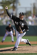 GLENDALE, AZ - MARCH 5:  J.J. Putz #40 of the Chicago White Sox pitches against the Los Angeles Dodgers on March 5, 2010 at The Ballpark at Camelback Ranch in Glendale, Arizona. (Photo by Ron Vesely)