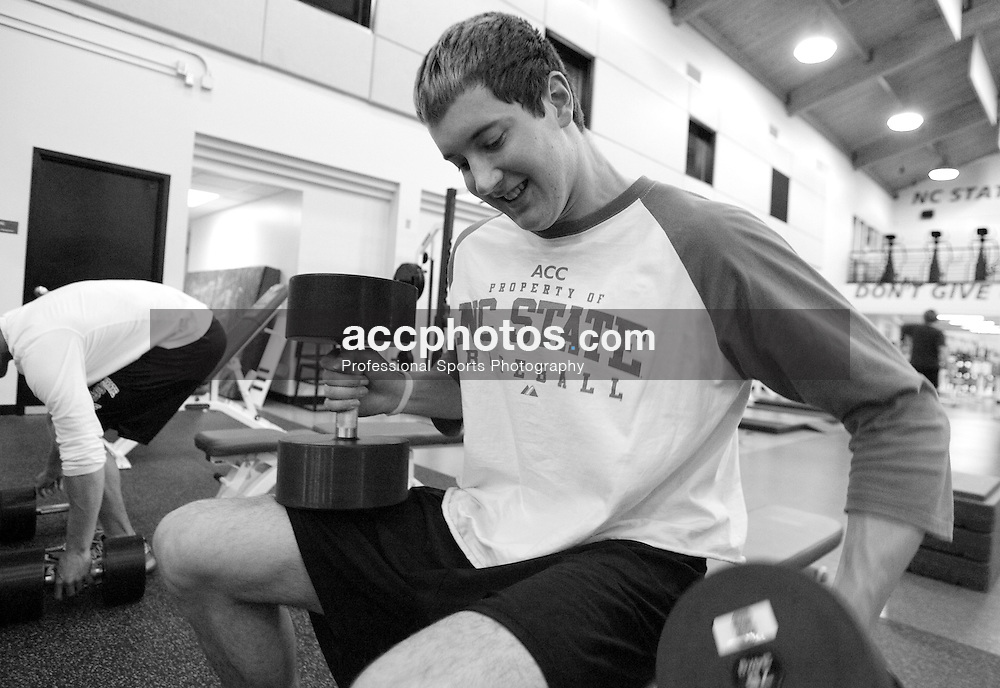 09 February 2007: North Carolina State Wolfpack RHP Andrew Brackman (40) works out in the Weisiger-Brown weight room after a 9-4 win over the William and Mary Tribe at Doak Field in Raleigh, NC.