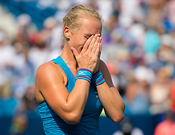 August 19, 2018 - Kiki Bertens of the Netherlands reacts to winning the final of the 2018 Western & Southern Open WTA Premier 5 tennis tournament. Cincinnati, Ohio, USA. August 19th 2018. (Credit Image: © AFP7 via ZUMA Wire)