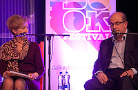 Olivia O'Leary and Salman Rushdie, at the 'Freedom of Speech' debate at the Dalkey Book Festival, Dalkey Town Hall, Dalkey, Dublin, Ireland. Saturday 21st June 2014.