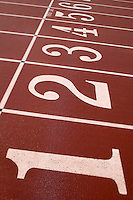 Starting lanes on a track at a track and field event