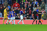 Referee Lee Mason consults his linesman before awarding a penalty to Everton - Sunderland vs. Everton - Barclay's Premier League - Stadium of Light - Sunderland - 09/11/2014 Pic Philip Oldham/Sportimage