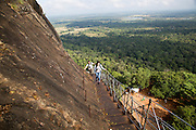 Metal staircase ascending from rock palace fortress, Sigiriya, Central Province, Sri Lanka, Asia