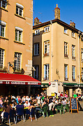 Outdoor cafe in old town Vieux Lyon, France (UNESCO World Heritage Site)