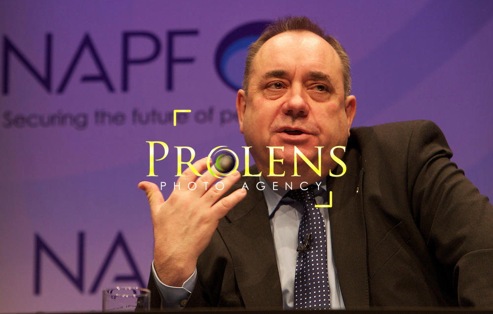 Scottish First Minister Alex Salmond's speach during the National Association of Pension Funds in Edinburgh.07-03-12..  . During the Scottish First Ministers speach during the National Association of Pension Funds, opening the plenary session of the three-day Investment Conference.  In The Edinburgh International Conference Centre... At The EICC, Edinburgh..Picture, Mark Davison/ StockPix.EU.Wednesday 7th Match 2012