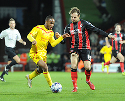 Liverpool's Raheem Sterling in action against AFC Bournemouth in Capital One Cup - Photo mandatory by-line: Paul Knight/JMP - Mobile: 07966 386802 - 17/12/2014 - SPORT - Football - Bournemouth - Goldsands Stadium - AFC Bournemouth v Liverpool - Capital One Cup