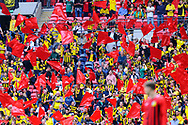 Watford fans waving their red flags before the The FA Cup Final match between Manchester City and Watford at Wembley Stadium, London, England on 18 May 2019.