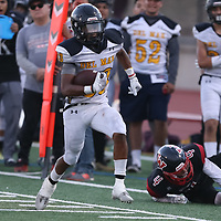Del Mar #33 Michael Graham III vs Westmont in a BVAL Football Game at Westmont High School, Campbell CA on 9/7/18. (Photograph by Bill Gerth)(Del Mar 35 Westmont 3)