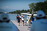 Plovdiv BULGARIA. 2017 FISA. Rowing World U23 Championships.                    CAN. BW8+, getting ready to boat, <br /> <br /> Wednesday. AM, general Views, Course, Boat Area<br /> 09:28:59  Wednesday  19.07.17   <br /> <br /> [Mandatory Credit. Peter SPURRIER/Intersport Images].