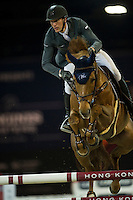 Kevin Staut on Ayade de Septon Et HDC competes during Longines Speed Challenge at the Longines Masters of Hong Kong on 20 February 2016 at the Asia World Expo in Hong Kong, China. Photo by Juan Manuel Serrano / Power Sport Images