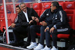 9 September 2017 -  Premier League - Stoke City v Manchester United - Jose Mourinho manager of Manchester United jokes with his coaching staff - Photo: Marc Atkins/Offside