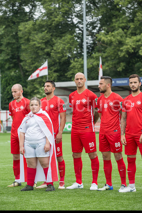 Northern Cyprus and mascot. Northern Cyprus 3 v Padania 2 during the Conifa Paddy Power World Football Cup semi finals on the 7th June 2018 at Carshalton Athletic Football Club in the United Kingdom. The CONIFA World Football Cup is an international football tournament organised by CONIFA, an umbrella association for states, minorities, stateless peoples and regions unaffiliated with FIFA.