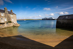 The ship Eurodam, part of the Holland America Line cruise line, lies of the coast at Lerwick, the main port of the Shetland Islands, Scotland, located more than 100 miles (160 km) off the north coast of mainland Scotland on the east coast of the Shetland Mainland.