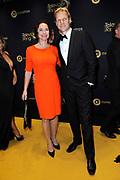 Gouden Loper van het 49ste Gouden Televizier-Ring Gala 2014 in Carre , Amsterdam<br /> <br /> Op de foto: <br /> <br /> <br /> <br />  Menno Bentveld en partner