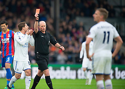 Marc Albrighton (right) is sent off by match referee Mike Dean
