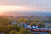 A cityscape view, aerial view of the City of Charlottesville and the downtoan mall. Credit Image: © Andrew Shurtleff