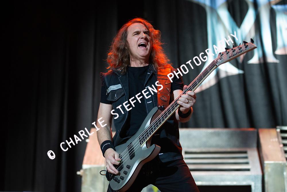 DAVE ELLEFSON of Megadeth at Ozzfest Meets Knotfest 2016 at San Manuel Amphitheater in San Bernardino, California